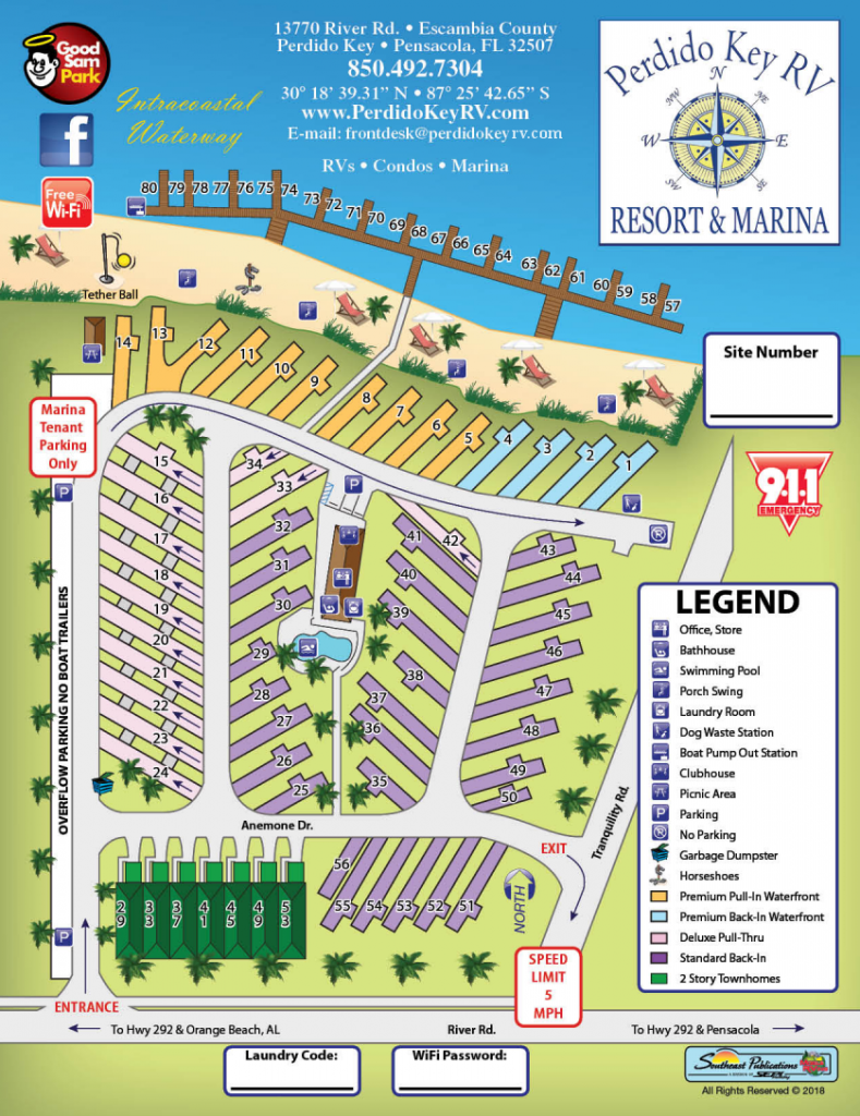 Perdido Key RV Resort and Marina - Site Map